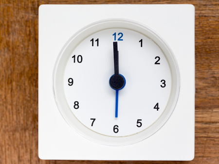 12 hour: The series of the sequence of time on the simple white analog clock , 148