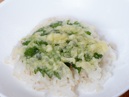 Japanese cuisine, fried Macrophyll on the rice called a Tendon in Japanese on the white bowl