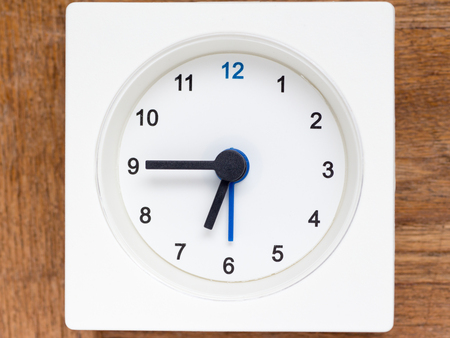 continuation: The series of the sequence of time on the simple white analog clock , 2848 Stock Photo