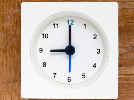 continuation: The series of the sequence of time on the simple white analog clock , 3748 Stock Photo