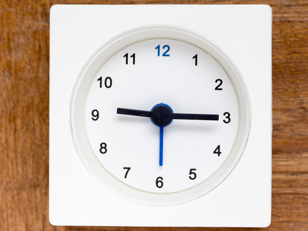 continuation: The series of the sequence of time on the simple white analog clock , 3848 Stock Photo