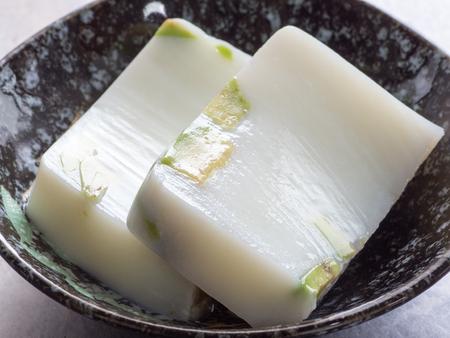 agar: Japanese cuisine, Avocade milk agar jelly Stock Photo