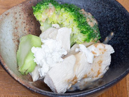Healthy eating, cottage cheese chicken salad in the bowl Stock Photo