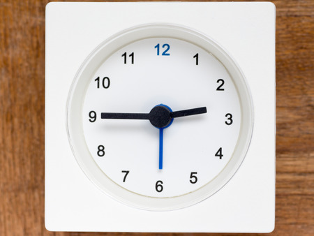 continuation: The series of the sequence of time on the simple white analog clock , 1248 Stock Photo