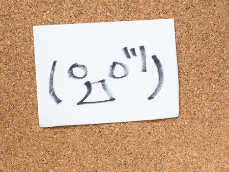 The series of Japanese emoticons called Kaomoji on the cork board, surprise