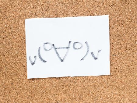 The series of Japanese emoticons called Kaomoji on the cork board, joyful 写真素材