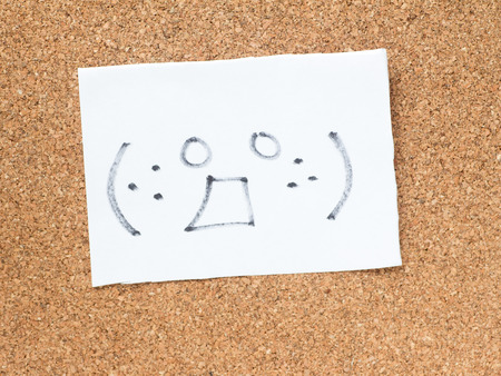 horny: The series of Japanese emoticons called Kaomoji on the cork board, horny