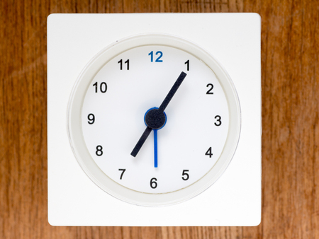 top seven: The second series of the sequence of time on the simple white analog clock , 5796
