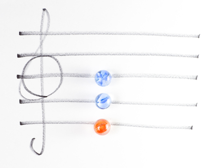 chord: The series of chord diagram, Em, on handwitten sheet music Stock Photo