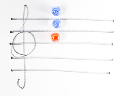 chord: The series of chord diagram, C, on handwitten sheet music Stock Photo