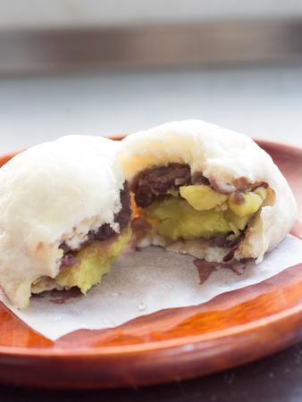 Japanese sweet homemade avocade steamed bun Stock Photo
