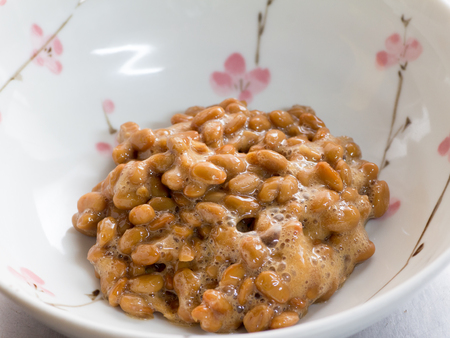 Japanese cuisine, fermented soybeans called Natto Stock Photo