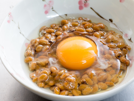 Japanese cuisine, homemadefermented soybeans called Natto with a raw egg