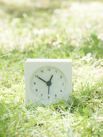 White rectangle simple clock on lawn yard, 12:50 twelve fifty