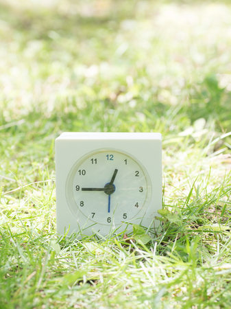White rectangle simple clock on lawn yard, 12:45 twelve forty five