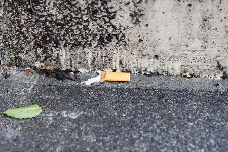 One cigarette end on the street