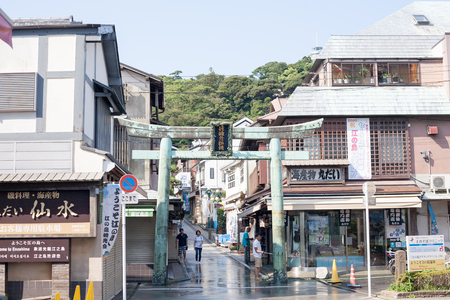 KANAGAWA, JAPAN - JULY 22, 2018: The entrance of the Enoshima shopping street in summer early morning Editorial