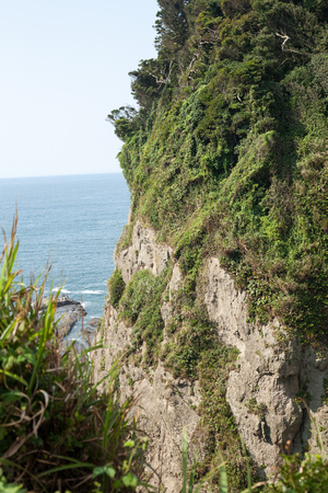 Sheer seas cliff in Kanagawa, Japan