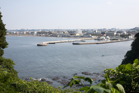 Summer scenary of Enoshima harbor in Kanagawa, Japan