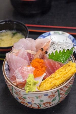 Japanese fresh seafood sashimi rice bowl