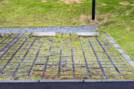Concrete parking block on lawn yard, outdoor 写真素材