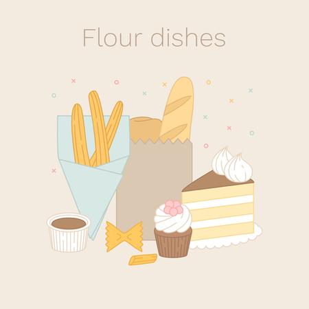Vector set of flour dishes. Flour goods