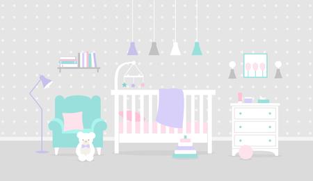 Vector nursery interior. Baby bedroom Ilustração