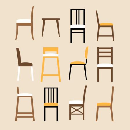 Vector conjunto de cadeiras Foto de archivo - 82689774