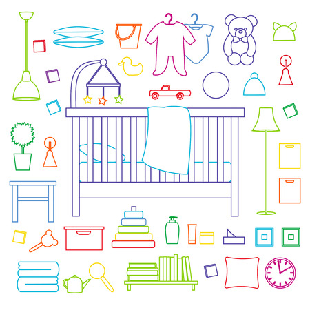 Vector collection of furniture of nursery. Outline illustration