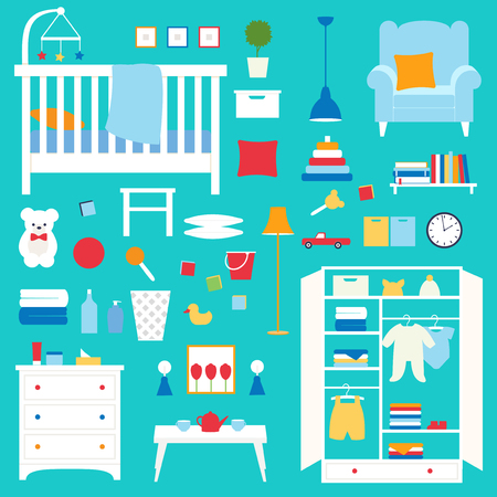 Vector collection of furniture and objects of nursery. Objects of baby room Ilustração