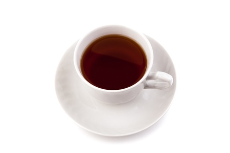 solitariness: cup of black tea on white background Stock Photo