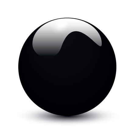 Black glossy ball on white background Vector