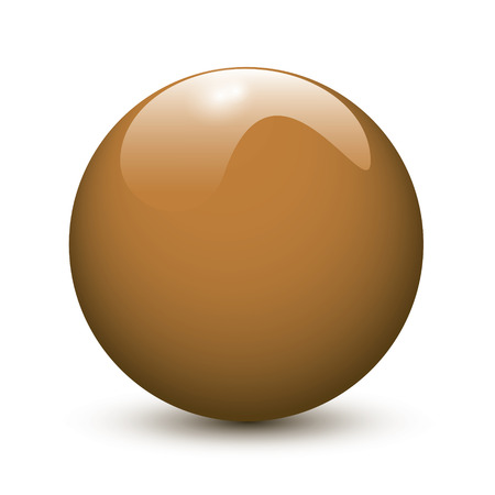 Brown glossy ball on white background Vector