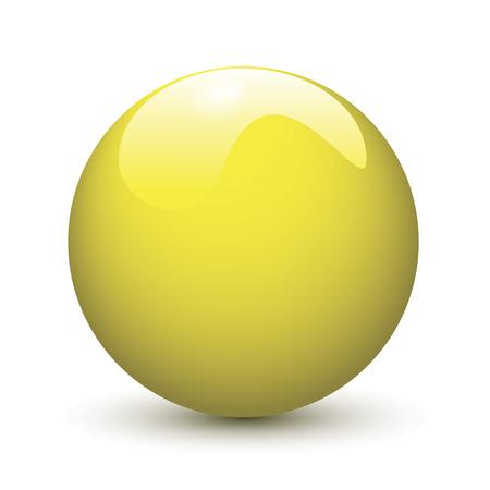 glob: Yellow glossy ball on white background