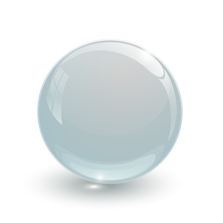 Crystal glassy ball on white background Vector