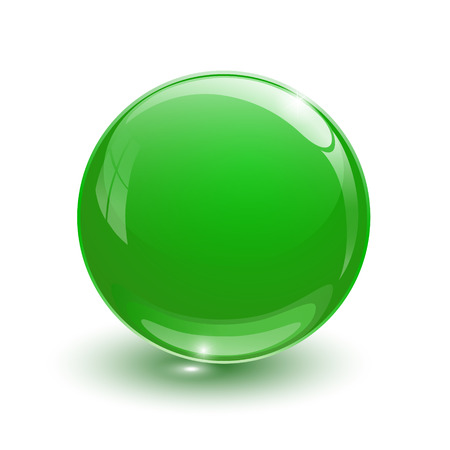 circumference: Green glassy ball on white background