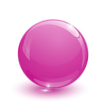 Pink glassy ball on white background Illustration