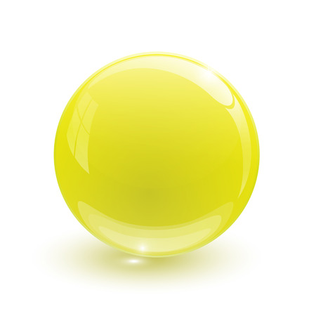 Yellow glassy ball on white background