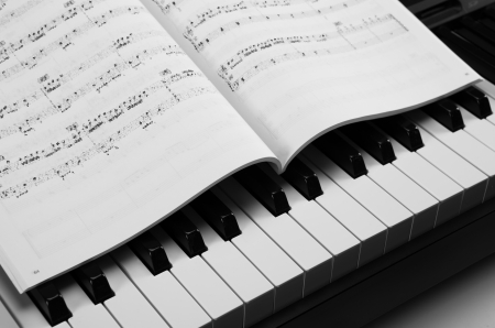 black and white keys of the piano closeup and musical book Stock Photo - 24923417