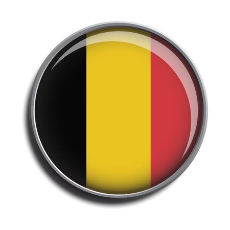 白い背景で隔離のアイコン web ボタン ベルギーを旗します。