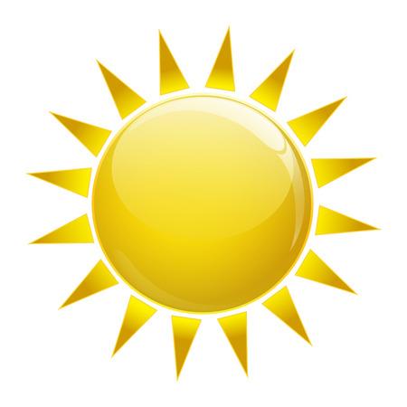 Gold sun icon on white isolated Illustration