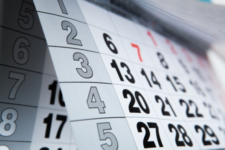 wall calendar calendar with the number of days close-up Stock Photo