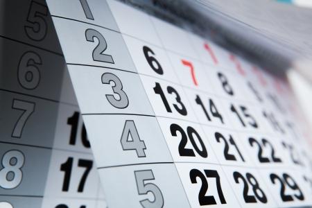 wall calendar calendar with the number of days close-up Standard-Bild
