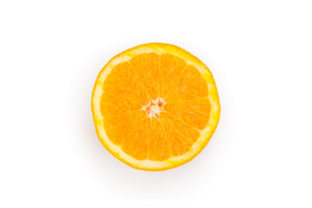 slice of orange top view close-up isolated