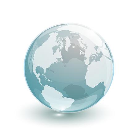 白い背景の上のガラス地球地球地図 3 d ブルー