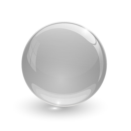 Grey glassy ball on white background photo