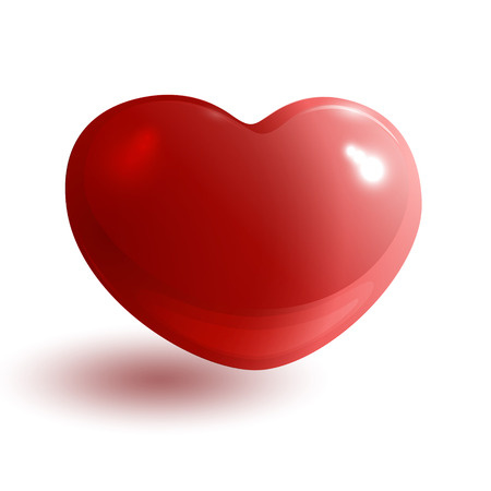Red glossy heart on white background Vector