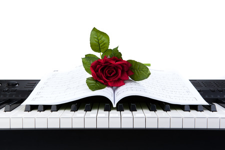 Piano keys and rose flower on note book on white photo