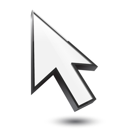 ideograph: cursor 3d icon with shadow on white  Illustration