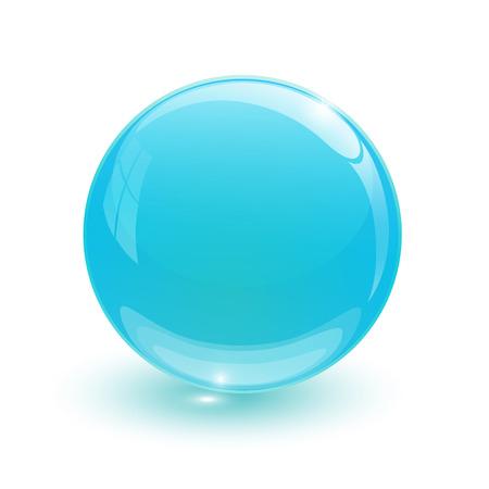 Blue glassy ball on white  Illustration